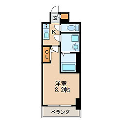 エスリード新栄プライム 4階1Kの間取り