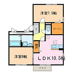 愛知県名古屋市天白区平針南4丁目の賃貸アパートの間取り