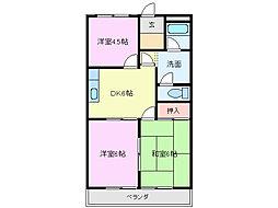 三重県鈴鹿市岡田3丁目の賃貸マンションの間取り
