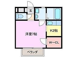 三重県亀山市能褒野町の賃貸アパートの間取り