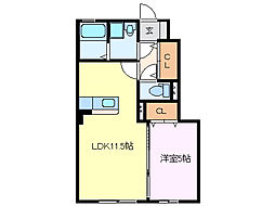 e-room[102号室]の間取り