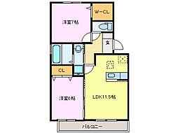 メルべーユMII[105号室]の間取り
