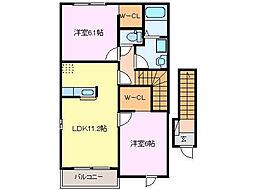 メゾンサカエII[2階]の間取り