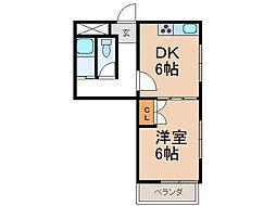 シティガーデン新通[3階]の間取り