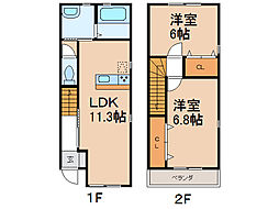 クラウンハイツ田尻II[1階]の間取り