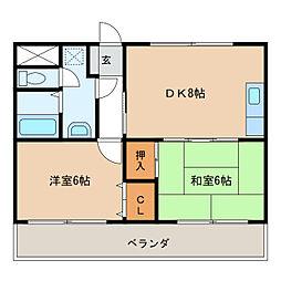 水原マンション(北島)[3階]の間取り