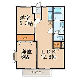 カーム松本A・B[1階]の間取り