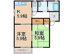 和歌山県岩出市金池の賃貸アパートの間取り