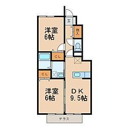 和歌山県和歌山市紀三井寺の賃貸アパートの間取り