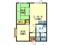 北海道北斗市七重浜5丁目の賃貸アパートの間取り