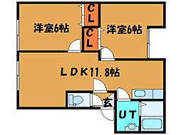 北海道北斗市七重浜7丁目の賃貸アパートの間取り