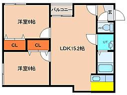 北海道函館市北浜町の賃貸アパートの間取り