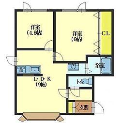 北海道函館市亀田港町の賃貸アパートの間取り