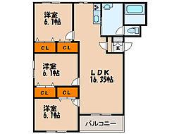 北海道函館市追分町の賃貸アパートの間取り