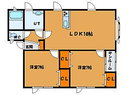北海道北斗市東浜1丁目の賃貸アパートの間取り