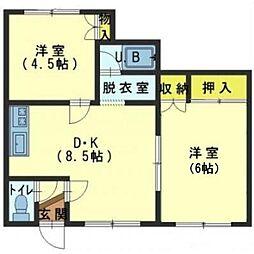 北海道函館市日乃出町の賃貸アパートの間取り
