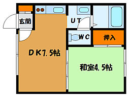 北海道函館市美原3丁目の賃貸アパートの間取り