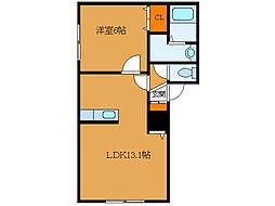 北海道函館市山の手3丁目の賃貸アパートの間取り