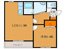 北海道函館市日吉町1丁目の賃貸マンションの間取り