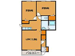 北海道函館市亀田町の賃貸アパートの間取り