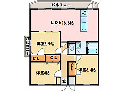 J・ハート一忠[2階]の間取り