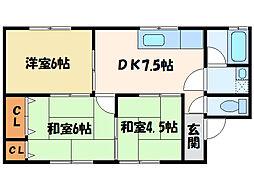 大角アパート[102号室]の間取り