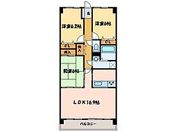 マリベール中須賀[2階]の間取り