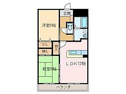 愛媛県新居浜市八幡1丁目の賃貸アパートの間取り