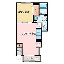 西原町1丁目アパート[A103号室]の間取り