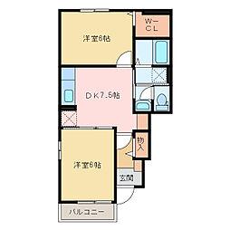 国領1丁目アパート A・B[A101号室]の間取り