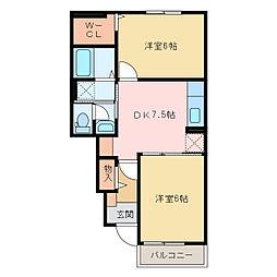国領1丁目アパート A・B[A103号室]の間取り
