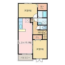 国領1丁目アパート A・B[A201号室]の間取り