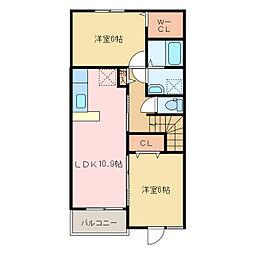 国領1丁目アパート A・B[A202号室]の間取り