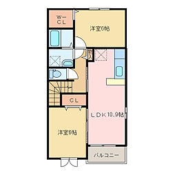 国領1丁目アパート A・B[A206号室]の間取り