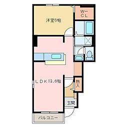 国領1丁目アパート A・B[B101号室]の間取り