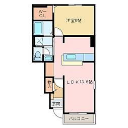 国領1丁目アパート A・B[B102号室]の間取り