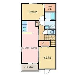 国領1丁目アパート A・B[B201号室]の間取り