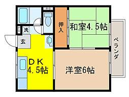 滋賀県大津市一里山3丁目の賃貸アパートの間取り