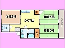 滋賀県大津市一里山3丁目の賃貸マンションの間取り