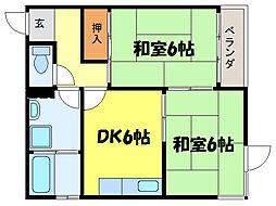 滋賀県大津市国分2丁目の賃貸マンションの間取り