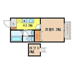 滋賀県大津市月輪3丁目の賃貸アパートの間取り