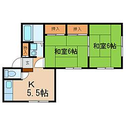 滋賀県大津市丸の内町の賃貸アパートの間取り