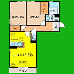 滋賀県大津市玉野浦の賃貸アパートの間取り