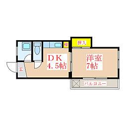 柿内コーポ花園[2階]の間取り