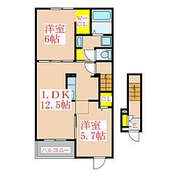 クオーレA棟[2階]の間取り