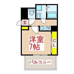 鹿児島市電1系統 荒田八幡駅 徒歩5分の賃貸アパート 1階1Kの間取り