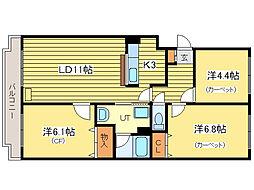メゾンドゥプラトー[1階]の間取り