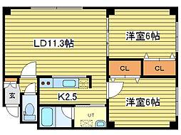 レ・グラン元町[2階]の間取り
