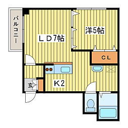 パレス154[4階]の間取り