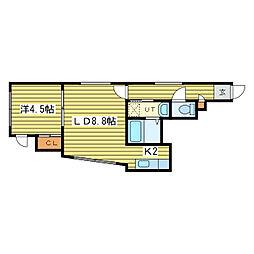 パラシェンプレN34[3階]の間取り
